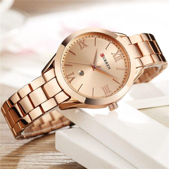 CURREN Frauen Uhren Top Marke Luxus Gold Damen Uhr Edelstahl Band Klassische Armband Weiblichen Uhr Relogio Feminino 9007