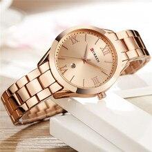 Часы CURREN женские с браслетом из нержавеющей стали, брендовые роскошные классические золотистые, 9007