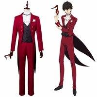 Persona 5 P5 Joker Akira Kurusu Cosplay Costume Masquerade Party Ren Amamiya Red Uniform Suit Halloween Carnival Costume Custom