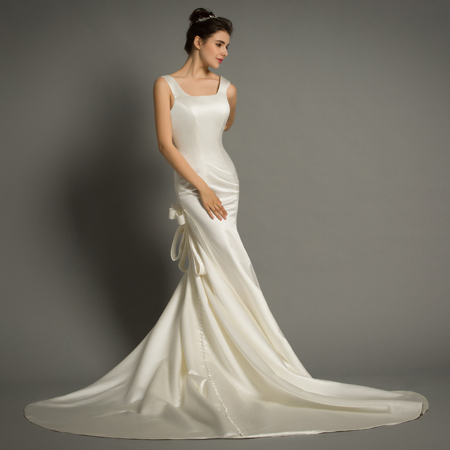 Dhg621 Elegant Simple Sexy Open Back Wedding Dress Sexy Low Back
