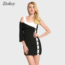 Zioksy New 2017 Summer Dress Women Fashion Sexy Hit Color Patchwork Package Hip Button Party Bodycon Dress