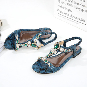 Image 3 - BEYARNESize 34 45 Retro Bohemian รองเท้าแตะเพชรสำหรับสตรี Retro ลูกปัด Serpentine สบายๆรองเท้าแตะสำหรับ womenE543