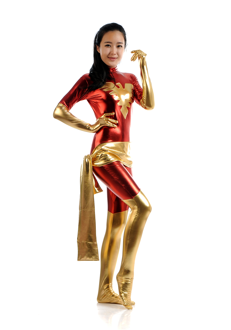 Free Shipping 2017The New 52 Flash Costume 3D Shade Spandex Full body Male Flash Superhero Costume Phoenix female red