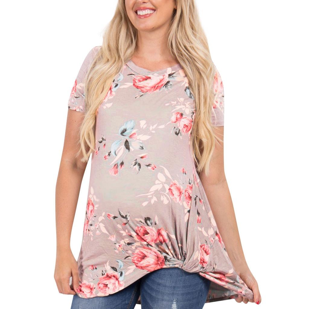 S-3XL Женская летняя блузка для беременных с принтом и круглым вырезом, с коротким рукавом, из полиэстера, с принтом, белая, розовая блузка, рубашка для беременных, большие размеры 314 - Цвет: PK