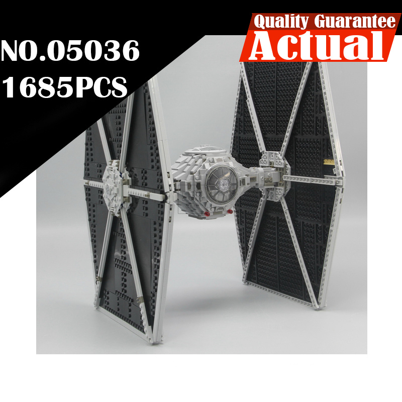 In Stock LEPIN 05036 Star Holiday toy Wars 1685pcs TIE Model Fighter Building blocks Bricks Classic Compatible 75095 Boys Gift new 1685pcs lepin 05036 1685pcs star series tie building fighter educational blocks bricks toys compatible with 75095 wars