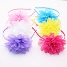 Высококачественные повязки на голову из шифона с большими цветами для подарка, повязки на голову для девочек, милые цветные детские аксессуары для волос для женщин