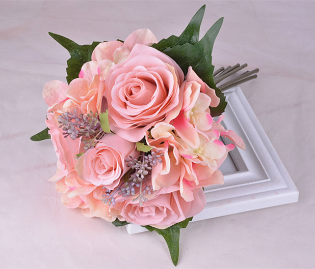Dark Pink Wedding Flowers: Inofinn Dark Pink Wedding Bouquet Bridal Holding Flowers