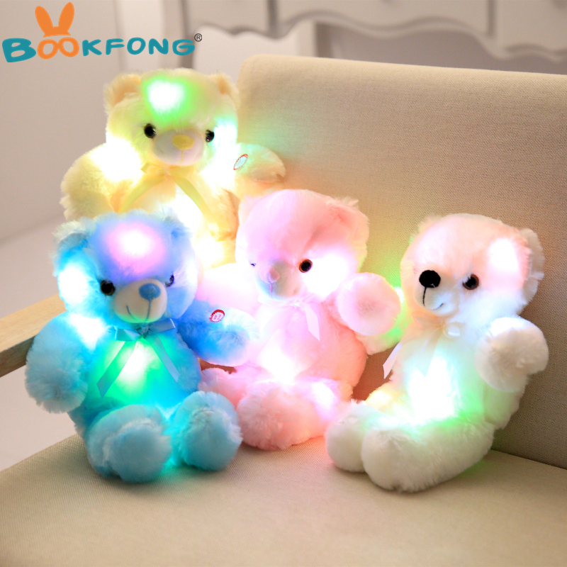 BOOKFONG 30cm Romantic Colorful Flash Light up LED Teddy Bear Plush Toy Doll Kids Toys Children Christmas Birthday Decoration large cute plush led panda teddy bear doll new year s gift colorful rainbow flash light children girl toy