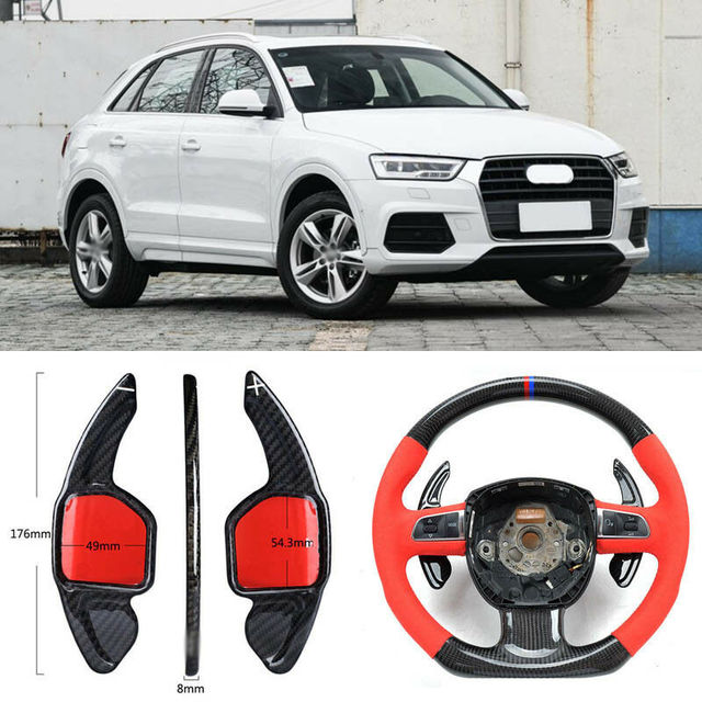 $ 104.33 Carbon Fiber Gear DSG Steering Wheel Paddle Shifter Cover Fit For Audi Q3 2013-2018
