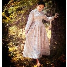 [AIGYPTOS-SHCAI]Autumn Women Royal Style Vintage Pastoral Style Floral Print Lace Neck Double Layer Cotton Linen Long Dress