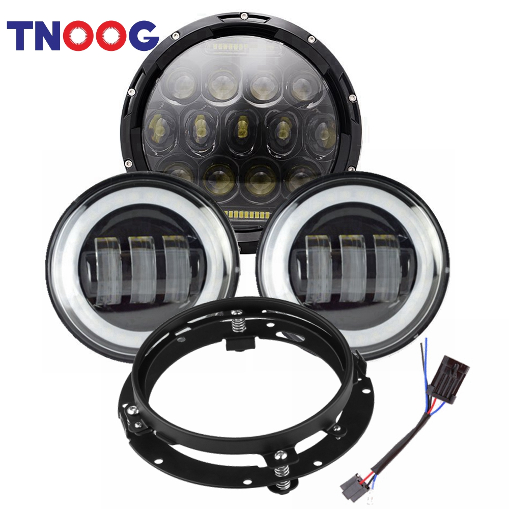75w 7 Inch Led Motorcycle Headlight 4.5 Fog Passing Lights Ring For Harley Davidson Ultra Classic Electra Street Glide Tri Cvo Home