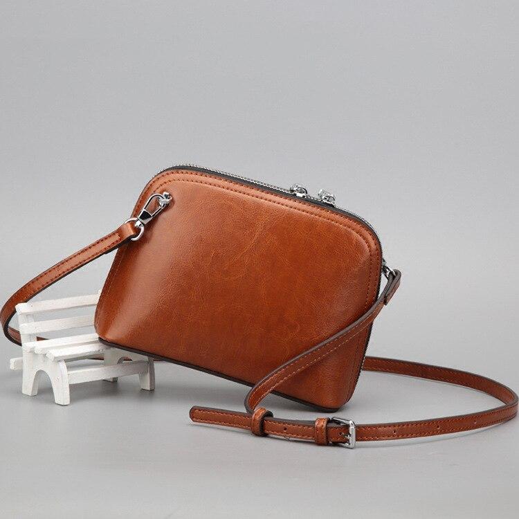 2019 nouveau Vintage huile cire vache cuir femmes Shell sac Mini belle mode sac à bandoulière en cuir véritable femmes Messenger sacs