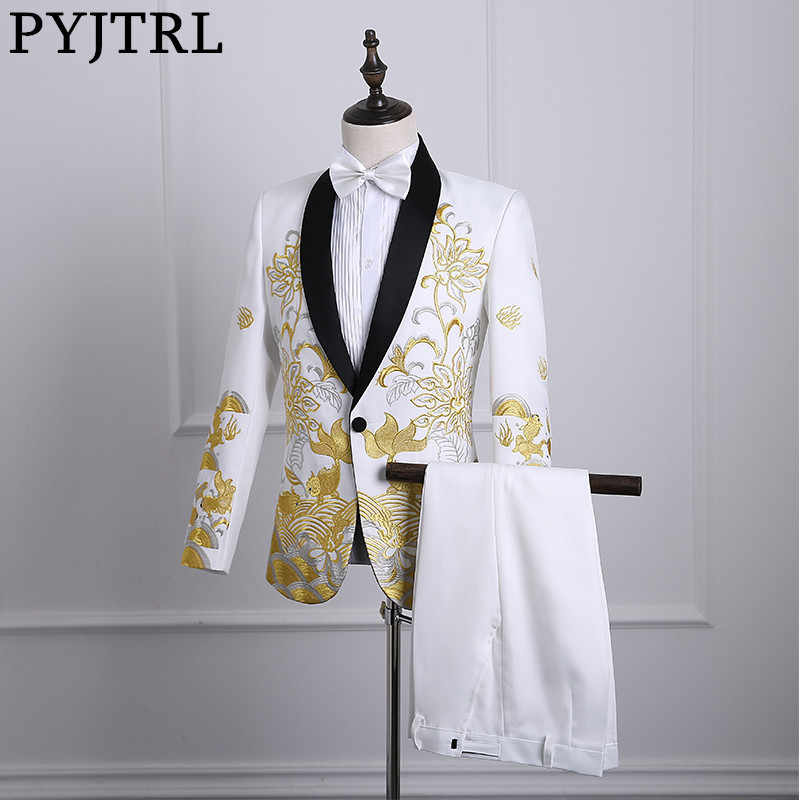 PYJTRL 2018 Male Shawl Lapel White Black Red Embroidered Prom Dress Suits Stage Singer Costume Homme Mens Suits With Pants