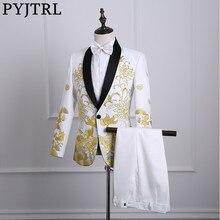PYJTRL זכר צעיף דש לבן שחור אדום רקום שמלה לנשף חליפות שלב זינגר תלבושות Homme Mens חליפות עם מכנסיים