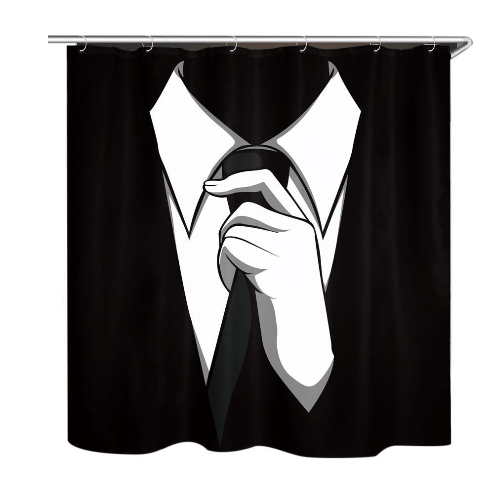 2017 Hot Sale Ouneed Fashion New Suit Tie Folding Waterproof Shower Curtains For Bathroom