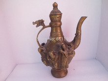 Art collecting Chinese Folk legend 8 Immortals home decorative copper teapot ,Antique metal crafts