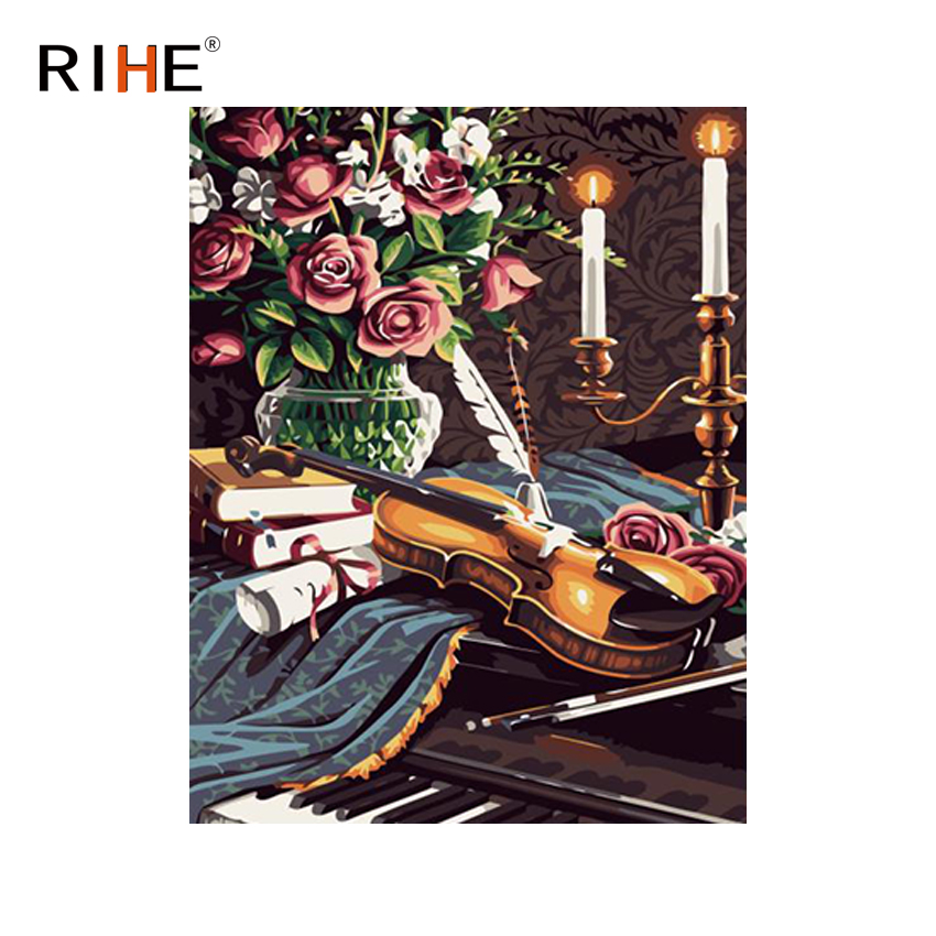RIHE Violin Rose Diy Painting By Numbers Abstract Music Oil On Canvas Cuadros Decoracion Acrylic Wall Picture For Room