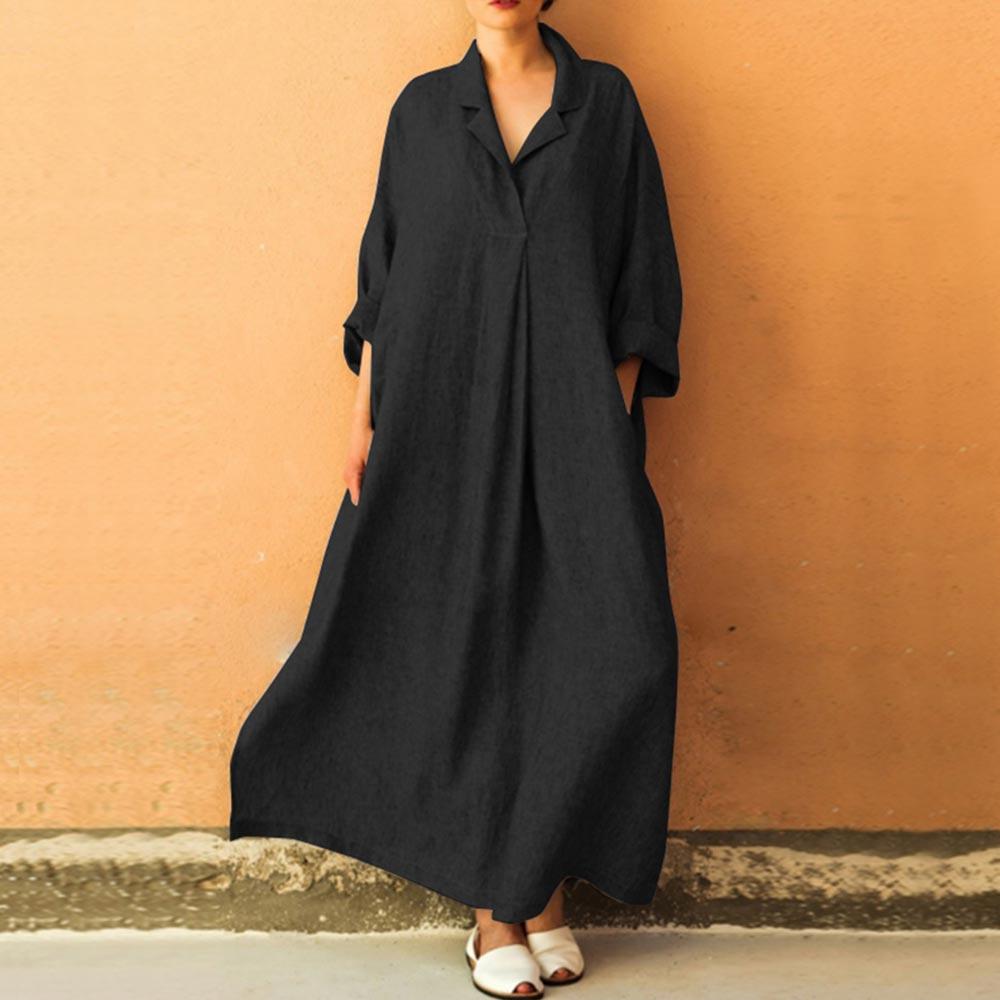 Cotton Linen Large Maxi Dresses Black Solid Long Sleeve Women\'s ...