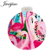 JWEIJIAO Flamingo Oill Painting Pocket Mirror With Massage Comb LOVE birds Folding Compact Portable Makeup Hand Vanity Mirrors