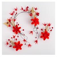 Hot Sale Red Flower Crystal Pearl Bridal Hair Accessories Bridal Hair Clip Hairpin Tiara Wedding Hair Accessories Hair Jewelry