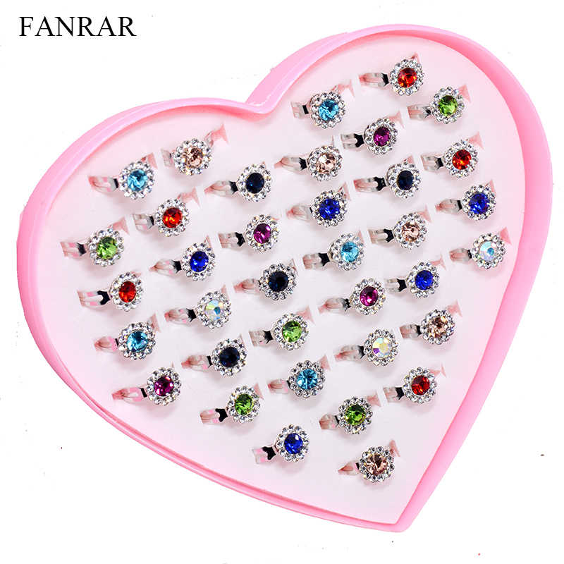 Wholesale Jewelry Mixed Crystal Sunflower Rings 36pcs/set Girls Kids Children Rhinestone Friendship Wedding Silver Rings Gift