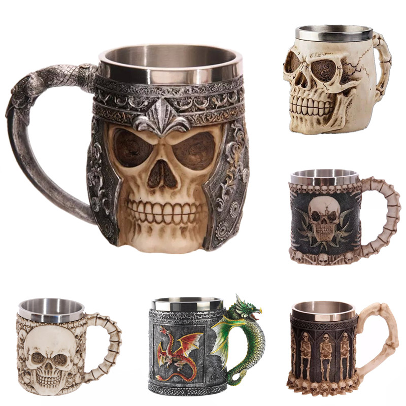 Coller Personalized Double Wall Stainless Steel 3D Skull <font><b>Cup</b></font> Coffee Skull <font><b>Knight</b></font> Tankard Dragon Drinking <font><b>Cup</b></font> Canecas Copo