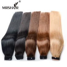 MRSHAIR 18 дюймов Ponytail Human Ponytails Extensions 120grams Non-Remy Wrap Around Ponytail Clip В бразильском хвосте волос