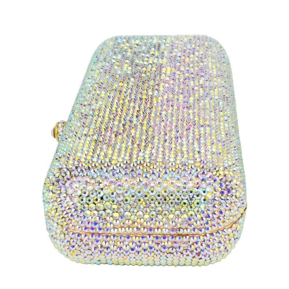 Biały kryształ wieczór torby luksusowe diament sprzęgło torby srebrny kolor party torby kobiety ślubna pochette panny młodej torebki SC066 w Torby z uchwytem od Bagaże i torby na  Grupa 3