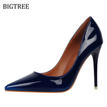 Size34-39 Women Pumps High Heels Patent Leather Royal Blue Green Red 2017 Super Sexy Brand Female Shoes Zapatillas Mujer 10cm