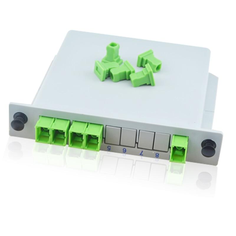 10 pcs/lot haute qualité 1X4 SC APC Cassette Box 1X4 SC APC inséré PLC Fiber optique séparateur 1X4 PLC Fiber optique séparateur
