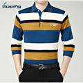 2017 New Men's Long Sleeves POLO Silk High-Grade Fabric Spring Stripes Thin Section Men POLO Loose Comfortable 3XLMK658