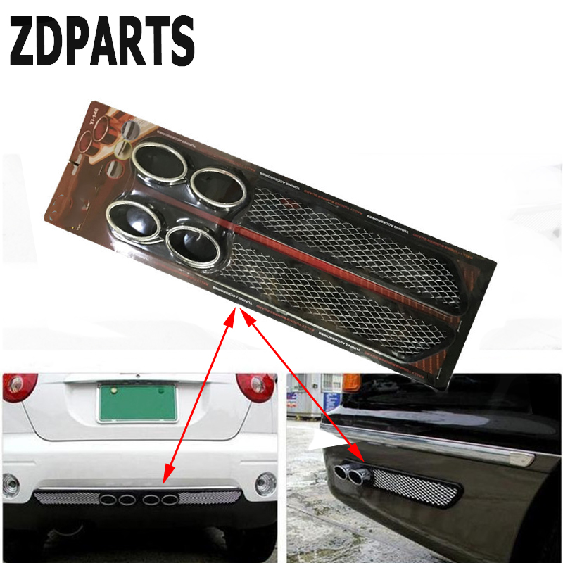 ZDPARTS 3D Car Carbon Chrome Exhaust Tail Pipes Bumper Stickers For Suzuki Grand Vitara Swift SX4 Mitsubishi ASX Audi A 4 Fiat