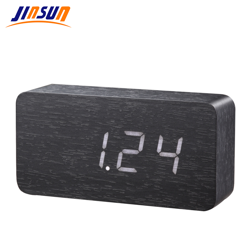 ecc51290787 JINSUN clockTemperature termômetro digital LED de madeira alarme Bordo  relógio de mesa de voz ativado KSW105
