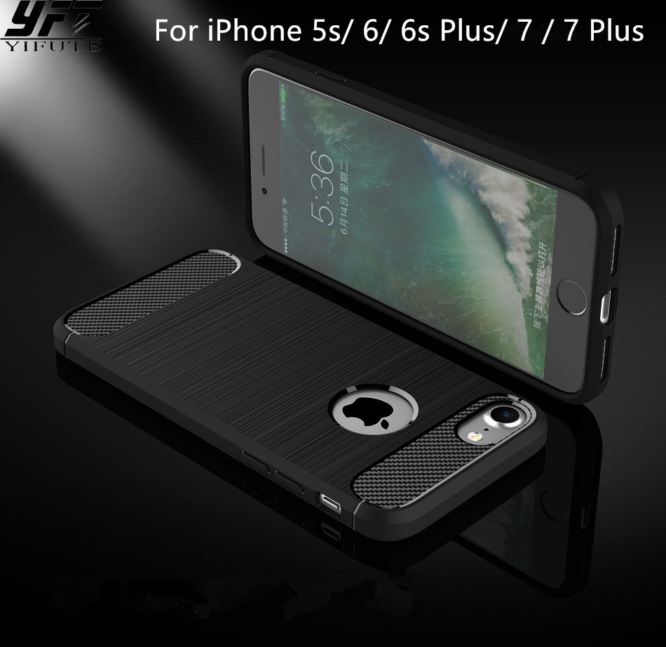 YIFUTE Carbon Fiber Phone Cases For iPhone 5 case 5s SE Cover Soft Anti Knock Cover For iPhone 7 case 6 6s Plus Case Capa Coque