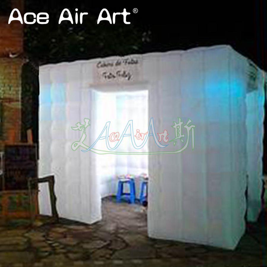 Toile de fond gonflable portative de cabine de photo de tente de 2 portes led, pavillon d'armoire de partie de photo pour le mariage et les événements