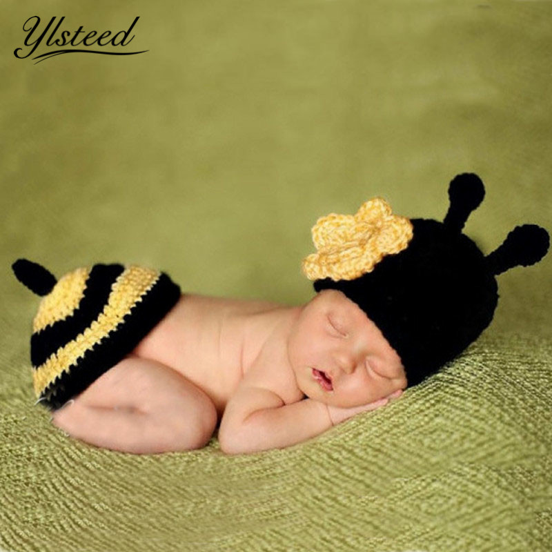 Crochet Baby Costume Set Knit Little Bee Flower Baby Hat Kawaii Animal Cap Newborn Photo Props Infant Outfit for Photo Shooting