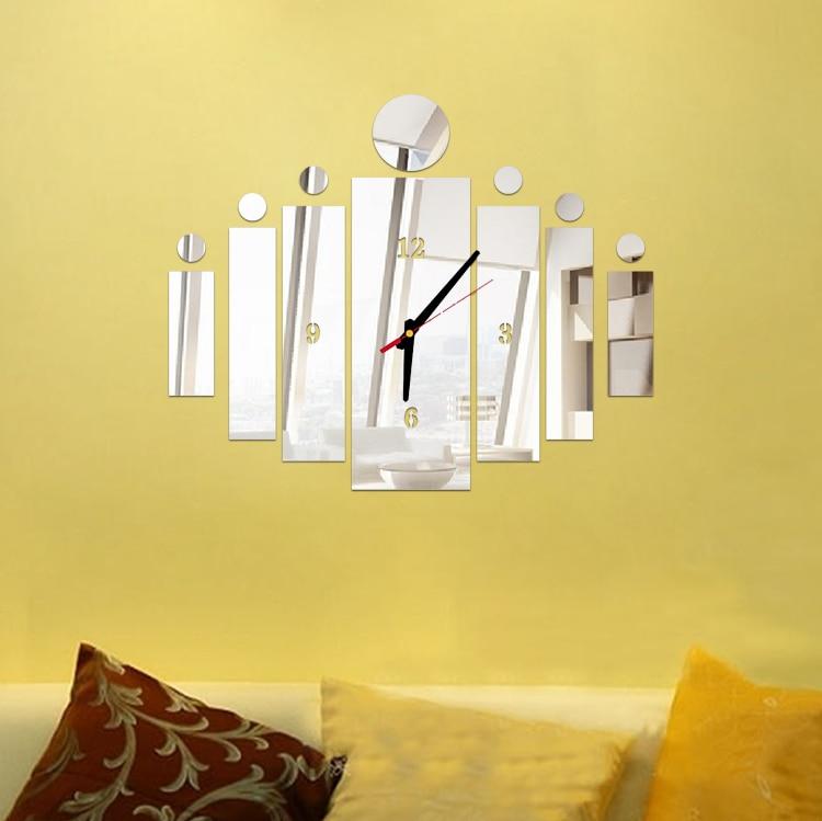 New 3d mirror wall art acrylic clock modern design watch home decor ...