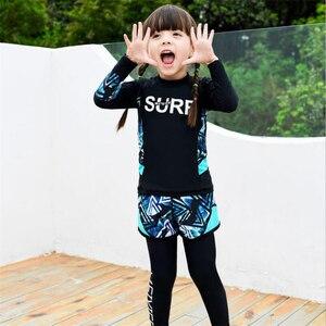 Image 2 - 2020 Fashion rashguard kids swimwear big child two/three sun protection uv shirt+shorts+pants swim surf suit boy/girl 85 165CM