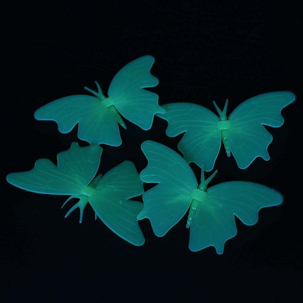 4Pcs Glow In The Dark Butterfly Decal Art Wall Stickers Home Decor Creative Gift