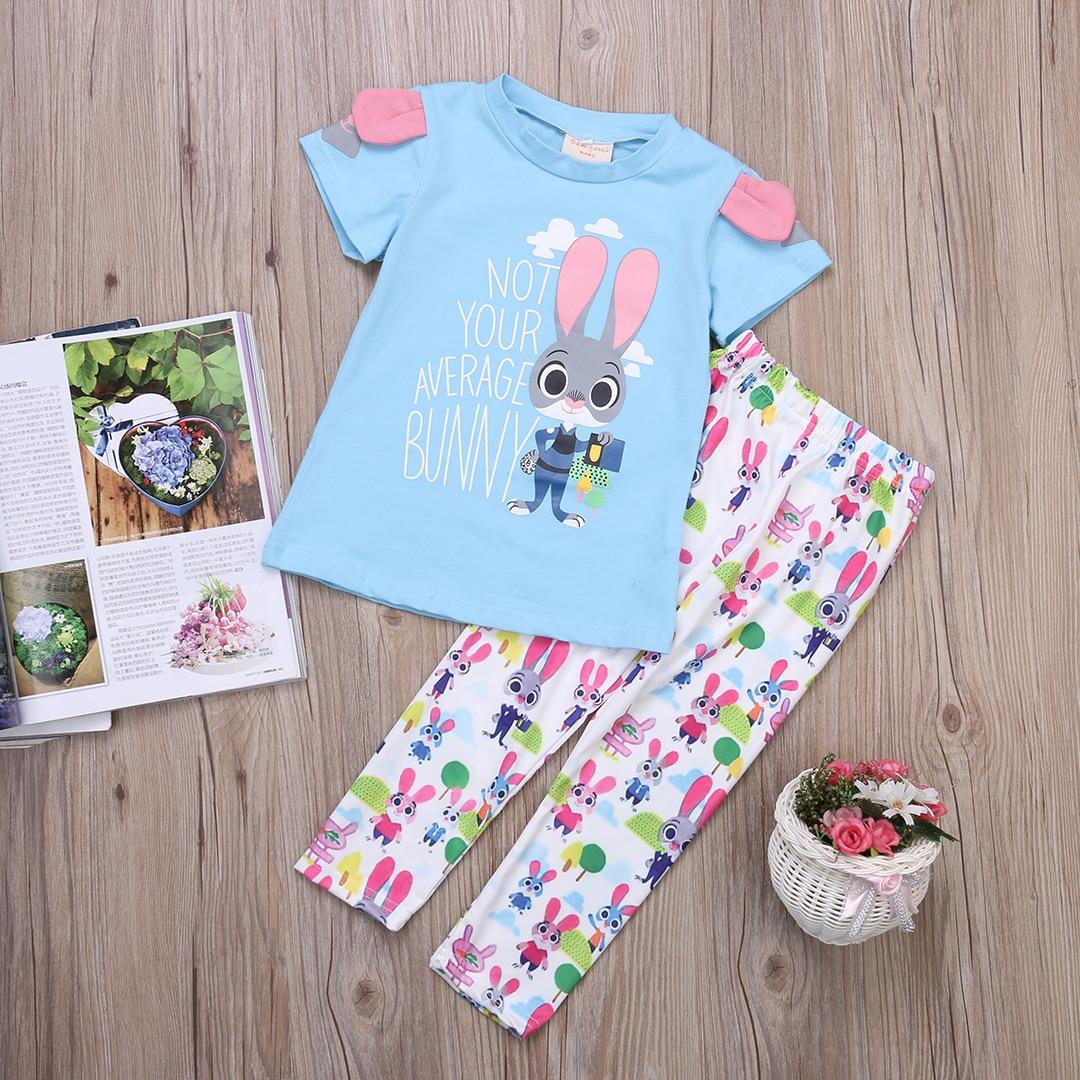 512e32b1f4 Zootopia del verano ropa de noche del bebé niños Niñas algodón dormir de  pijamas set 2
