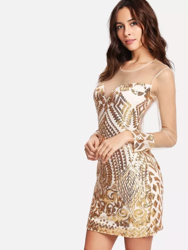 Manches Celebrity De Bandage Maille Designer Paillettes Sexy Hiver 2018 Longues Mode Robe rxdBeCo