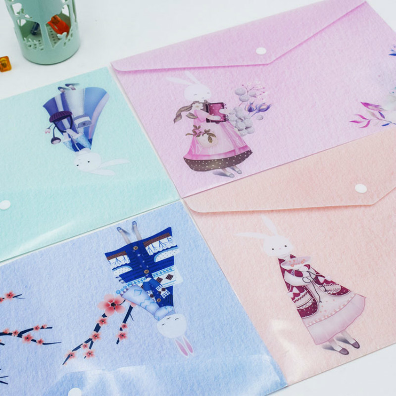 50 Pcs Waterproof A4 File Bag Cartoon Color Printing Office Stationerybag PP Student Stationery Papers Collection Informationbag