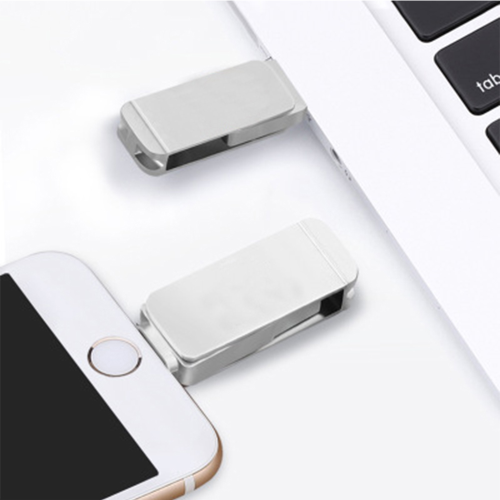 3 2 1 2 in 1 USB 3.0 Flash Drive Phone Computer U-Disk Portable 128G Memory Stick Flash Disk Compatible for iPhone iPad PC - Silver (2)