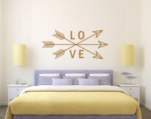 Removable Love Arrow Wall Decal Vinyl Sticker Decals Art Home Decor Mural Arrows Feather Fashion Bohemian Bedroom  M-186