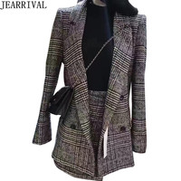 New Fashion Work Office Skirt Suit For Women Double Breasted Plaid Blazer Jacket + Asymmetrical Mini Skirt Business 2 Piece Set