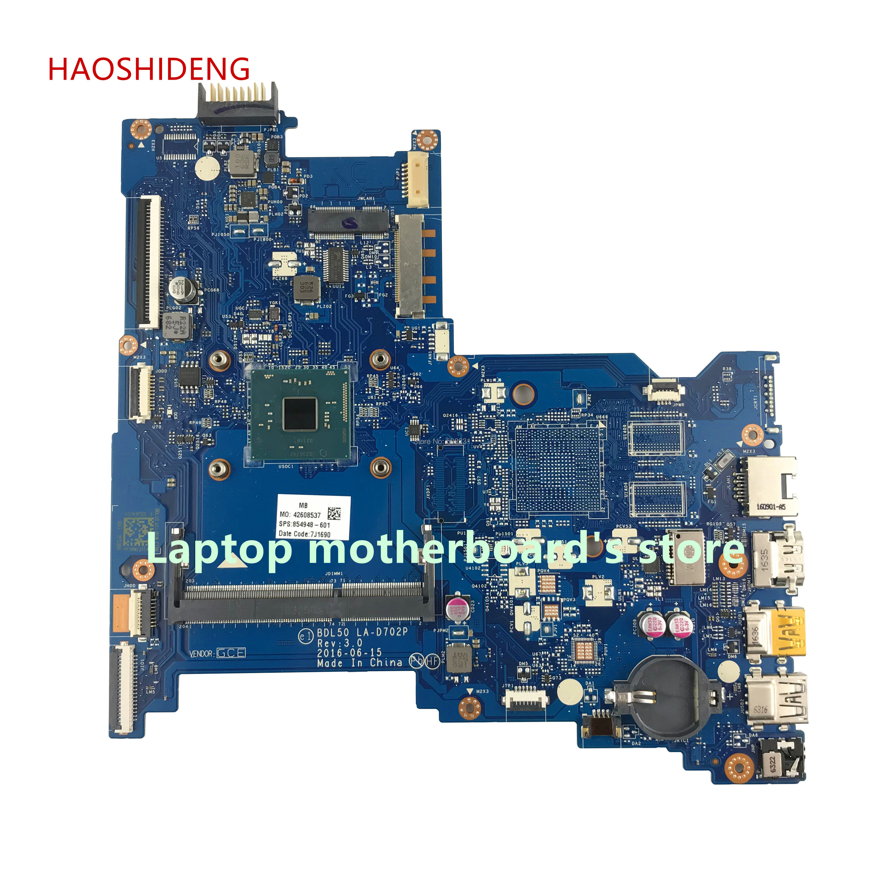 HAOSHIDENG 854948-601 854948-501 BDL50 LA-D702P mainboard for HP NOTEBOOK 15-AY 15-AY006CY laptop motherboard with N3710 free shipping 854949 601 bdl50 la d702p for hp notebook 15 ay series motherboard with n3160 cpu all functions 100