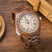 Mens Natural Wooden Watches Analog Quartz Handmade Walnut Sandalwood Casual Wris