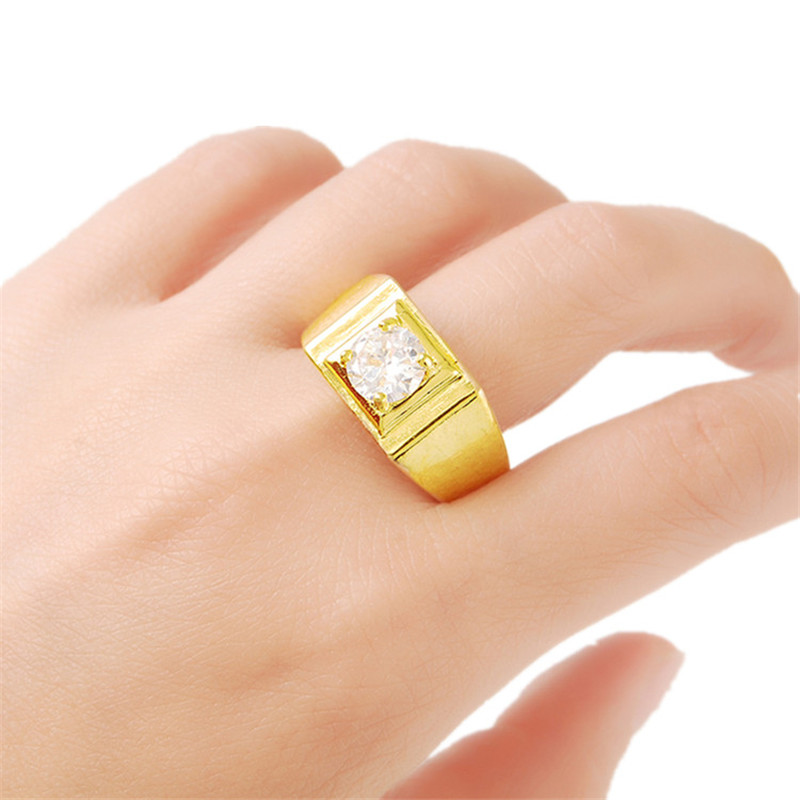 Hot Selling Gold Color Filled Round Aaa Zircon Crystal Rings Women Men Luxury Jewelry Gift Good Heat Preservation