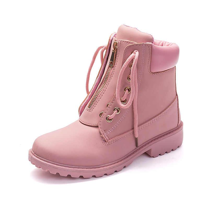 LZJ 2018 Nieuwe Roze Vrouwen Laarzen Lace up Solid Casual Enkellaarsjes Martin Ronde Neus Vrouwen Schoenen winter sneeuw laarzen warm britse stijl
