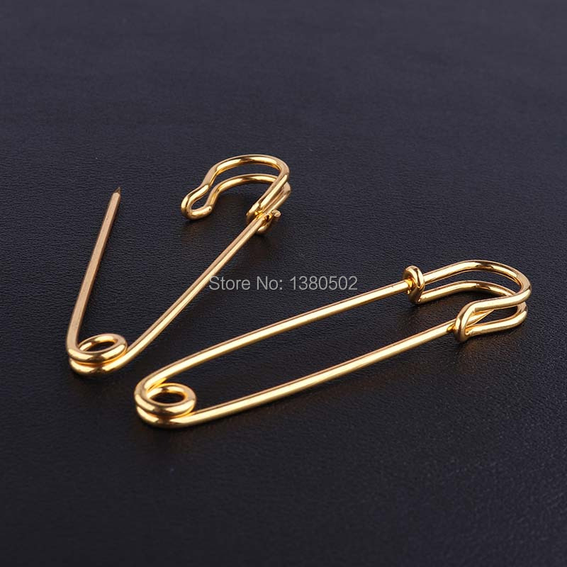 20pcs/lot gold color metal safety pins 78*15mm Brooch Pins for earring Decoration